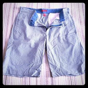Lightly used, blue and white checkered Izod shorts